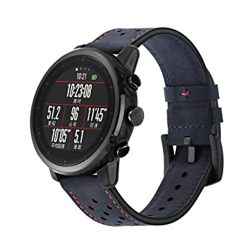 Fossrn para Amazfit Stratos 2/2S Banda De Reloj De Pulsera De Piel Correa para Amazfit Stratos Smart Watch 2/2S (Navy): Amazon.es: Deportes y aire libre