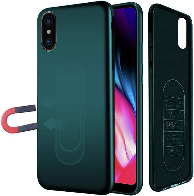 Coque Aimantée pour iPhone 7/8, Coque Magnétique avec Plaque Métal pour Support Aimant Téléphone Voiture, Etui Silicone Souple Anticoc Ultra Mince ...