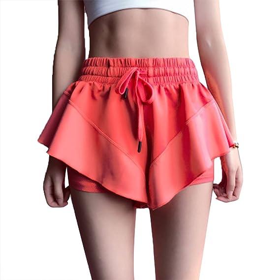 LUOEM Pantalones Cortos Deportivos Dry Anti-Light Yoga Workout ...
