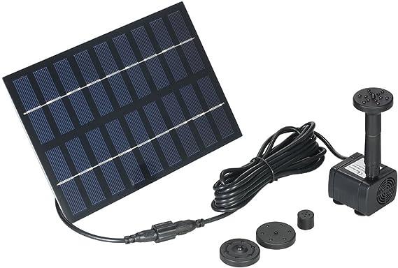 Decdeal Solar Springbrunnen 1W Solar Teichpumpe Garten Solar Wasserpumpe mit 5 Blumend/üsen 175L//h