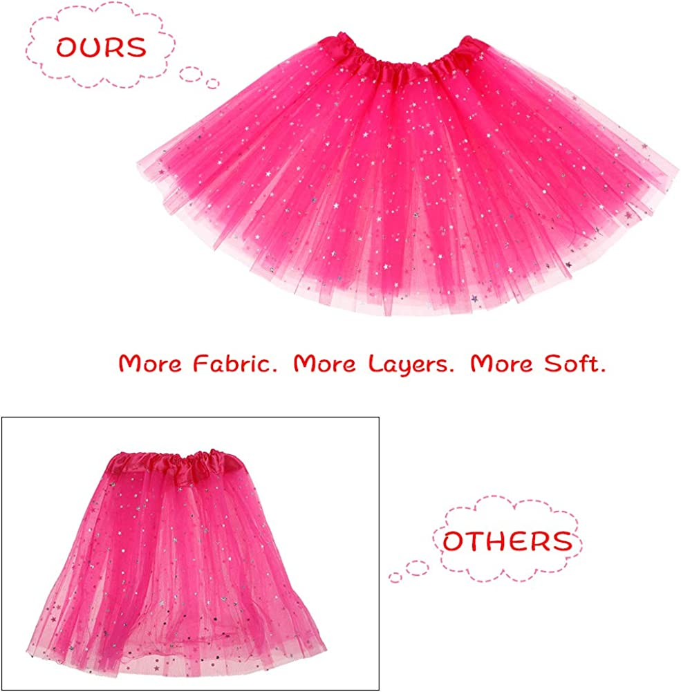 Girls Princess Dress up Clothes with Star Sequins and Princess Crown Tiara Set Ballet Birthday Party for 2-6 Year Old Girl Gifts Tutu Skirt as Party Favors