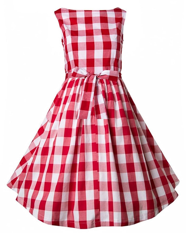 MatchLife Women's New 50s Vintage Audrey Hepburn Style Pinup Swing Dress
