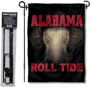 Crimson Tide Roll Tide Logo Garden Flag and USA Flag Stand Pole Holder Set