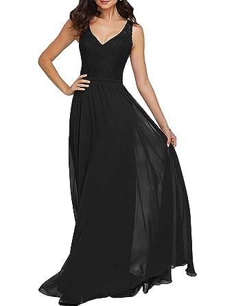06bee7cb2e63c Beiqian Womens V Neck Lace Bridesmaid Dress Sleeveless Long Wedding ...