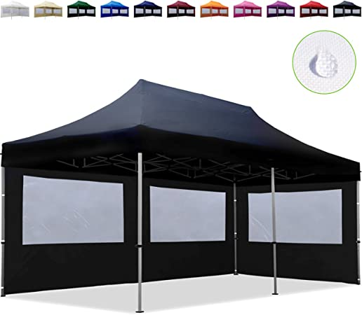 3x3m Faltpavillon Faltzelt Klappzelt mit 2 Seitenteilen 100/% Wasserdicht schwarz
