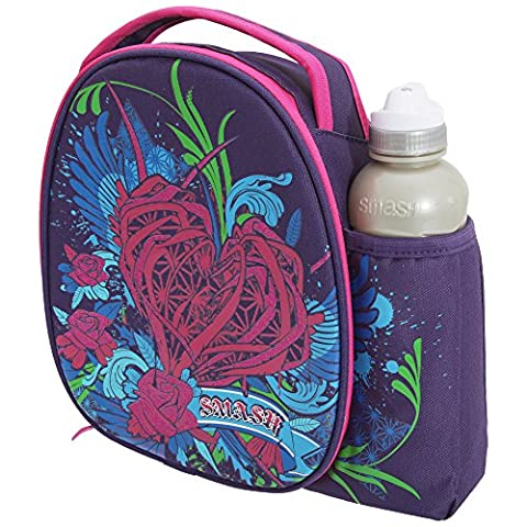 Smash Childrens Girls Floral Thorn Heart Lunch Bag And Water Bottle Set (One Size) (Multicoloured) (Black Thorn Usa Water Bottle)