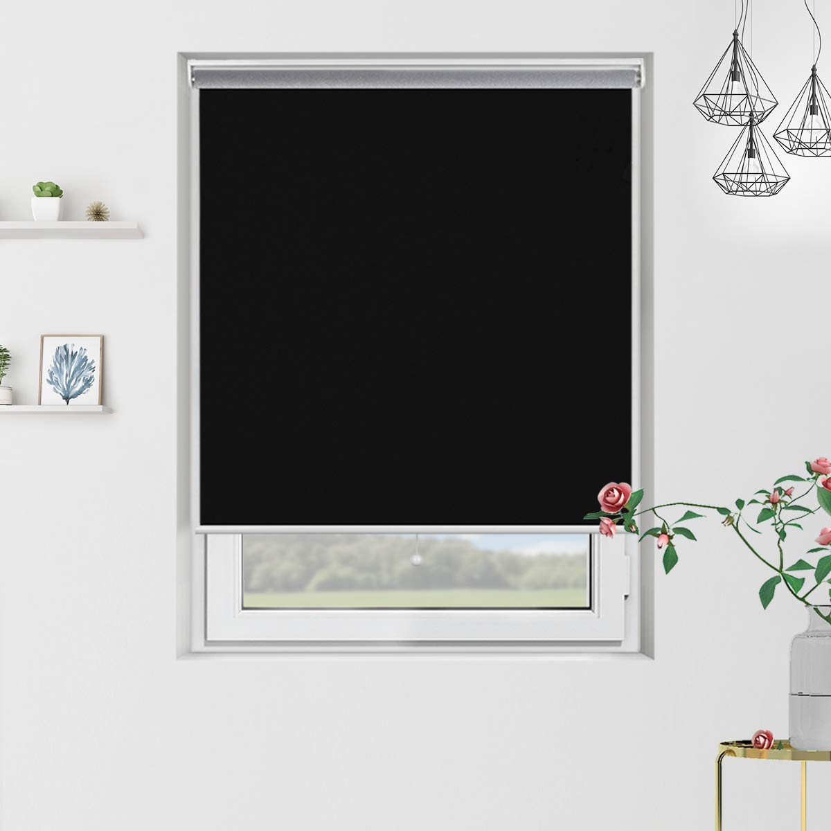 Grandekor Cordless Blackout Roller Blinds and Shades with Spring System, Thermal and Room Darkening for Window Indoor Use, Black, 31 x 72 inch by Grandekor