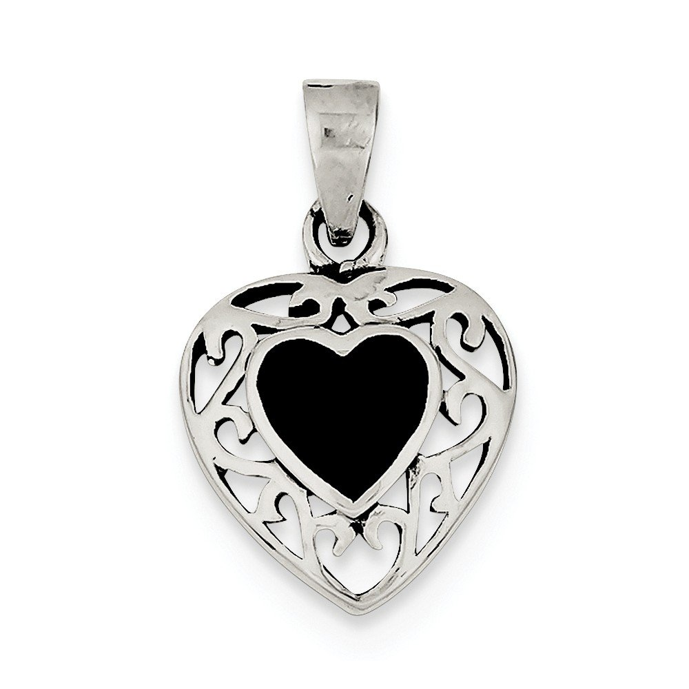 Sterling Silver Onyx Heart Antiqued Pendant