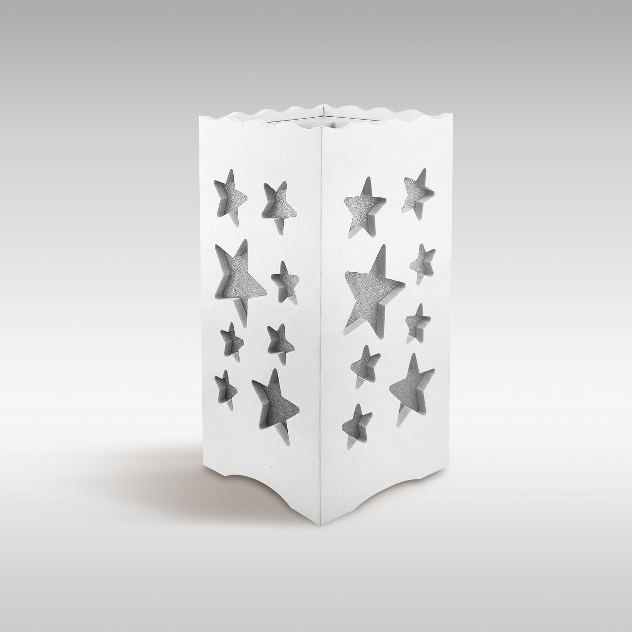 DIJIANI Bedside Table Lamp Simple Night Stand Lamp Contemporary Small Bedside Desk Lamp with Stars Cutout for Living Room, Bedroom, Study, Hotel, White