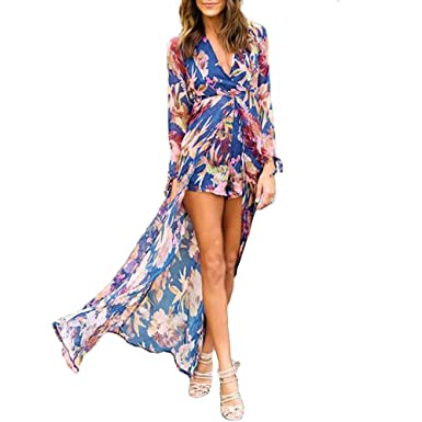 25df1817c07 Fadalo Womens V Neck Floral Print Chiffon Maxi Dress Overlay Romper Jumpsuit  Playsuit Blue