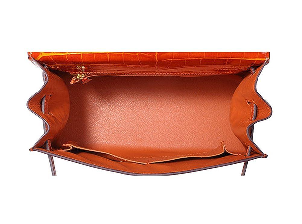Ainifeel Womens Padlock Crocodile Embossed Patent Leather Shoulder Handbags Grey blue
