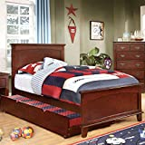 Colin Transitional Style Cherry Finish Twin Size Bed Frame Set w/ Trundle