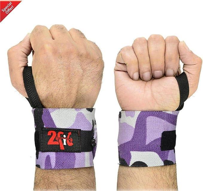 2 Fit Levantamiento de pesas correas de gimnasio de soporte de muñeca vendaje Wraps mano Muñequera algodón camuflaje Workout Sports correas de camuflaje, morado: Amazon.es: Deportes y aire libre