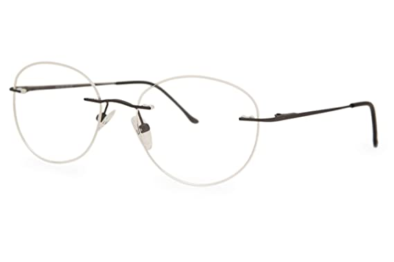 cb0652394b SmartBuy Collection Willy Men s Prescription Eyeglass Frames - Rimless  Round Designer Glasses Frame - Willy Grey