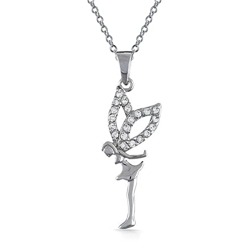 Small Pave Cubic Zirconia CZ Fairy Angel Pendant Necklace For Teen For Women 925 Sterling Silver