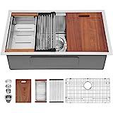 32 Kitchen Sink Undermount - Sarlai 32 Inch Undermount Sink Ledge Workstation Deep Single Bowl R10 Tight Radius…