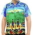 La Leela Hawaiian Shirts Men Short Sleeve Pocket Aloha Camp Beer Bright Blue