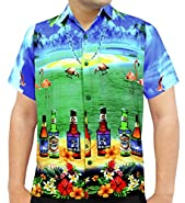 La Leela Hawaiian Shirts Men Short Sleeve Pocket Aloha Camp Beer Bright Blue