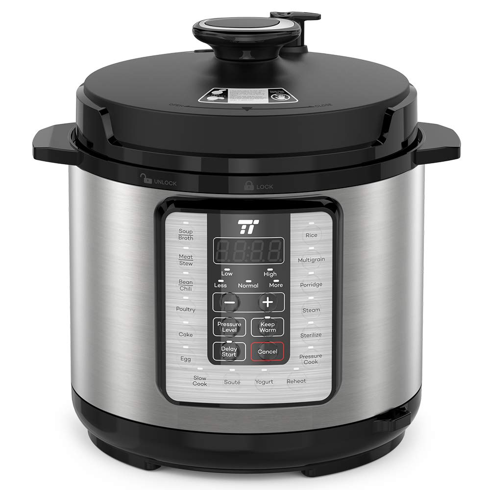 TaoTronics TT-EE006 Electric Pressure Cooker 6QT, 10-in-1 Multi-Use Programmable, No Chemical Coatings Inner Pot, for Slow Cooking, Rice, Steamer, Sauté, Yogurt Maker, Food Warmer, Sterilizer, with Cookbook, Silver