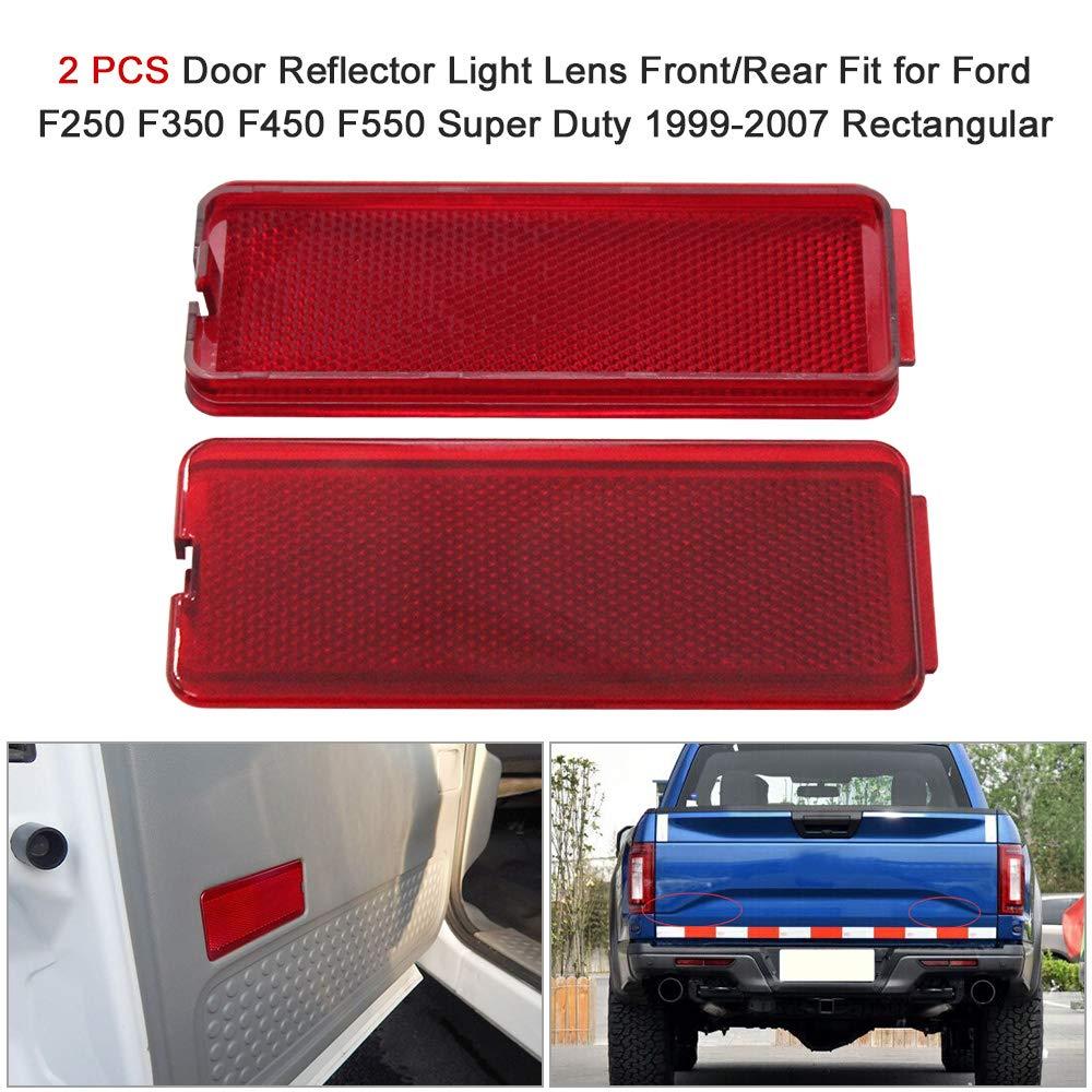 2 St/ücke T/ür Reflektor Licht Objektiv Vorne//Hinten Fit f/ür Ford F250 F350 F450 F550 Super Duty 1999-2007 Rechteckige