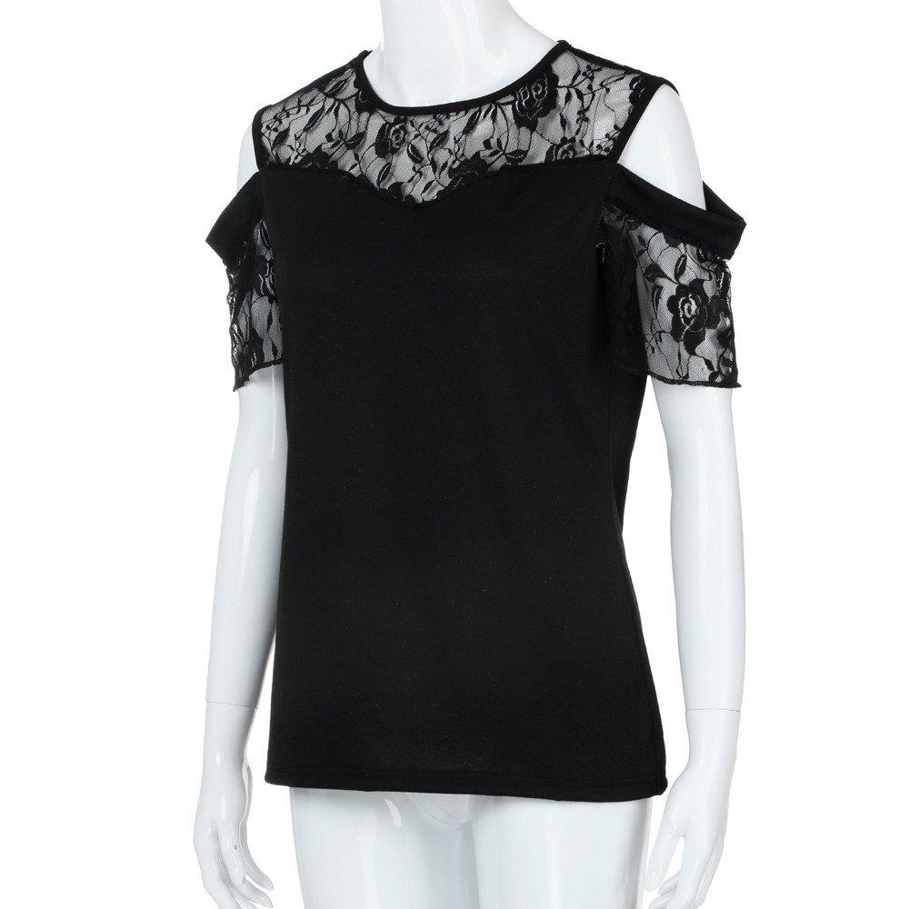 Manadlian Manga Corta de Mujer Camisa del o-Cuello para Mujer Blusa de Encaje Camiseta de Flores Tops Camiseta Negro: Amazon.es: Ropa y accesorios