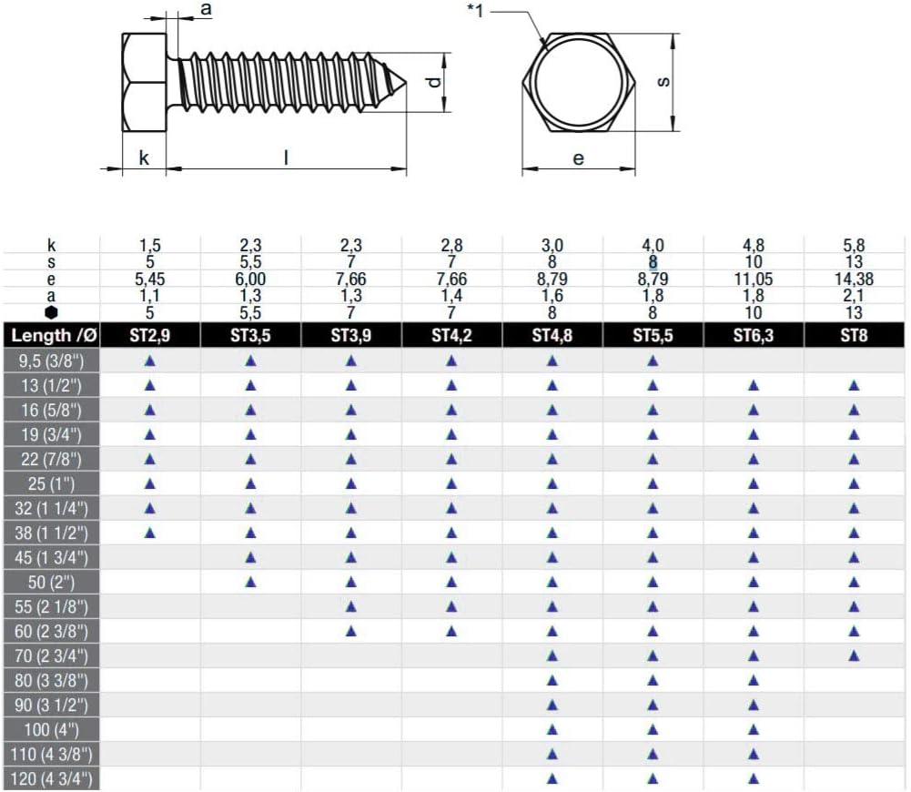 Blechschrauben Sechskant Edelstahl A2 DIN 7976 5.5x16 x10