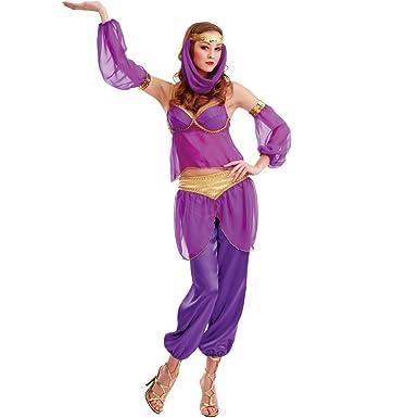 Steamy Genie Womenu0027s Halloween Costume Dreamy Arabian Dancer Harem Dress Gown Purple Small  sc 1 st  Amazon.com & Amazon.com: Steamy Genie Womenu0027s Halloween Costume Dreamy Arabian ...