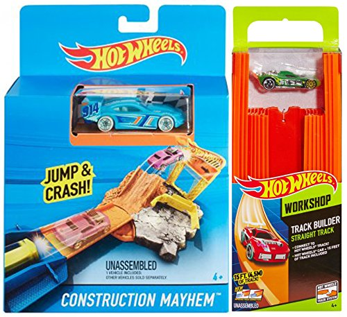 Hot Wheels Mega Stunt Track Builder Kit Straight Track Includes 15 Feet of Track and a Bonus Car + Track launcher Crash or Jump Pocket Playset + bonus cars