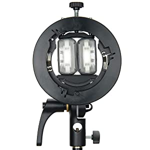Godox S2 Speedlite Bracket S-Type Bowens Mount Holder for Godox V1 AD200Pro AD400Pro AD200 V860II TT685 TT600 TT350 Series Speedlite Flash, Snoot, Softbox, Honeycomb, Reflector, Beauty Dish &USB light