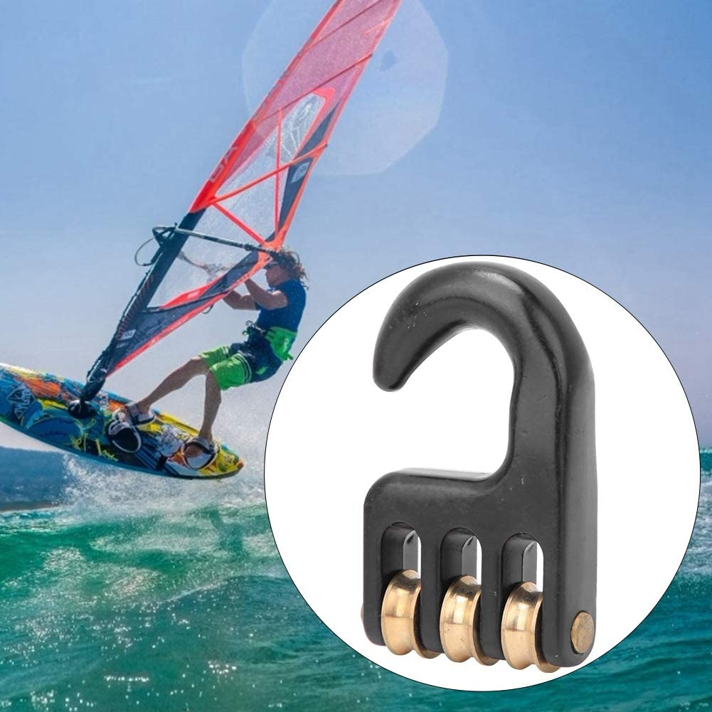 Windsurf Rigging Pulley Hook 3 Roller Wheel Rigging Pulley Hook Strong Havy Duty Aluminium Alloy Surf Accessory