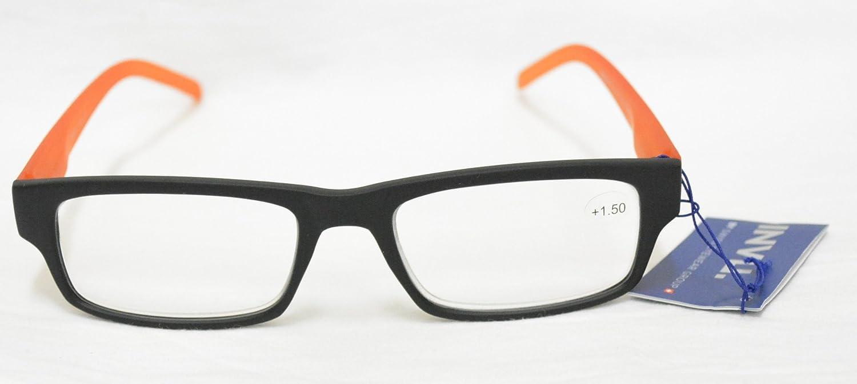 2.00 Nero Arancio Reading Glasses INVU Occhiali per Lettura PREMONTATI B 6507 E