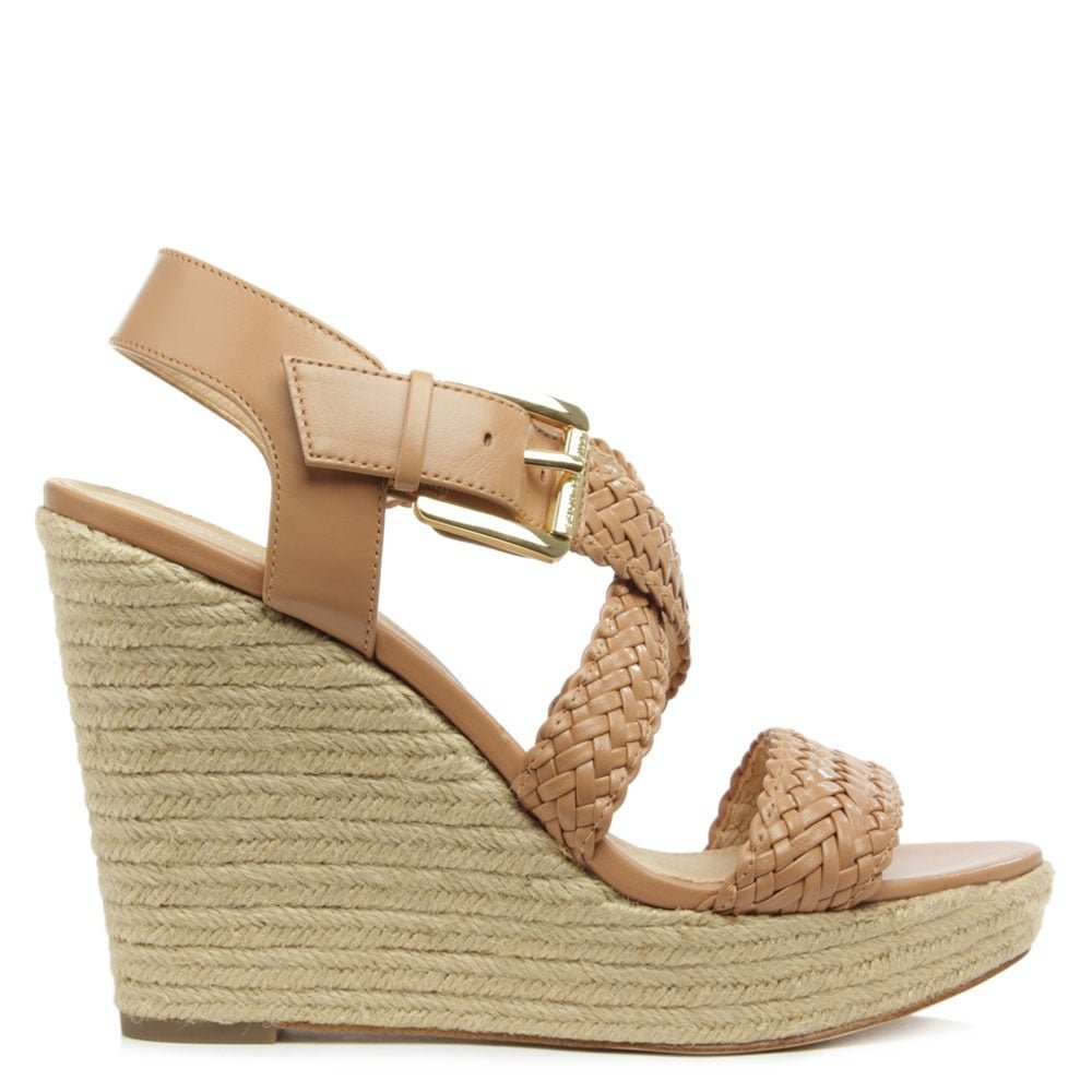 5e22763722e Michael Kors Giovanna Tan Leather Woven Wedge Sandal 41 Tan Leather ...