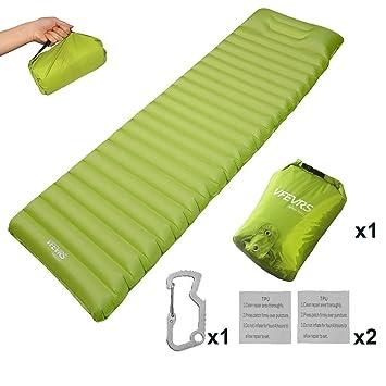 VFEVRS Colchón de aire inflable, ultraligero colchón que acampa acolchado almohadilla para dormir con almohada