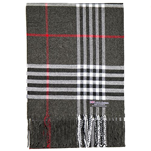 2 PLY 100% Cashmere Scarf Tartan OS Big Check Plaid Made in Scotland Wool Wrap Muffler (Charcoal Black Red (100% 2 Ply Cashmere)