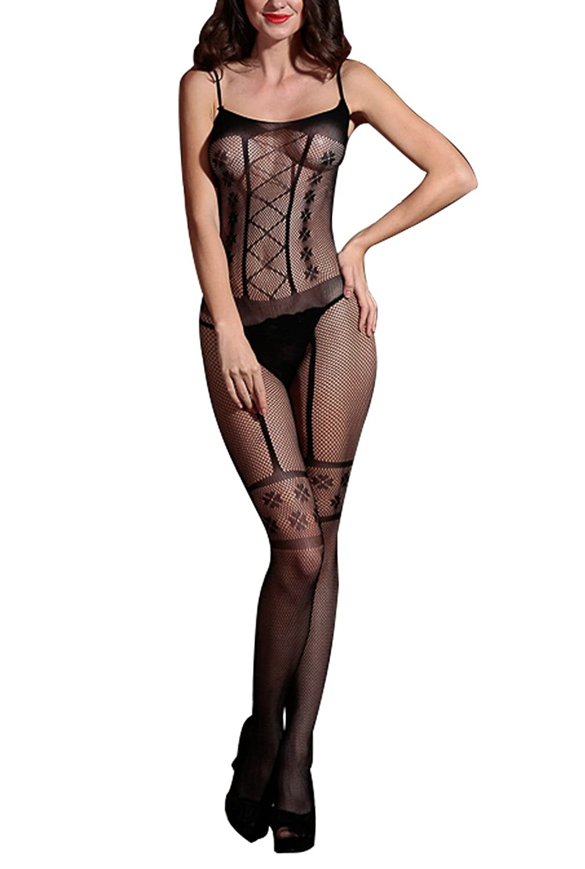 bca9fc847c4 Amazon.com  Women s Bodystocking Sexy Lace One Piece Body Stocking Lingerie  Fit S~XXL  Clothing