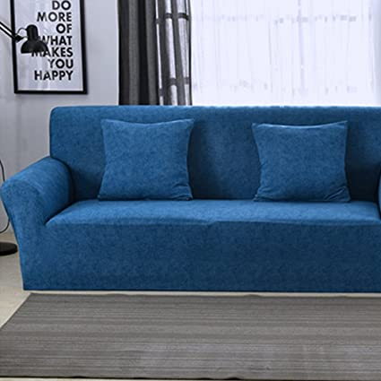 Raylans Extensible Seat Chair Covers Couch Slipcover Sofa Loveseat Cover 15 Colors/4 for 1 2 3 4 Four People Sofa Dark Blue