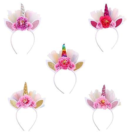 a6d3fddde77c Frcolor Serre-tête Licorne Floral Bandeau Corne aux Oreilles Accessoire de  Anniversaire Fête Déguisement pour Enfants ...