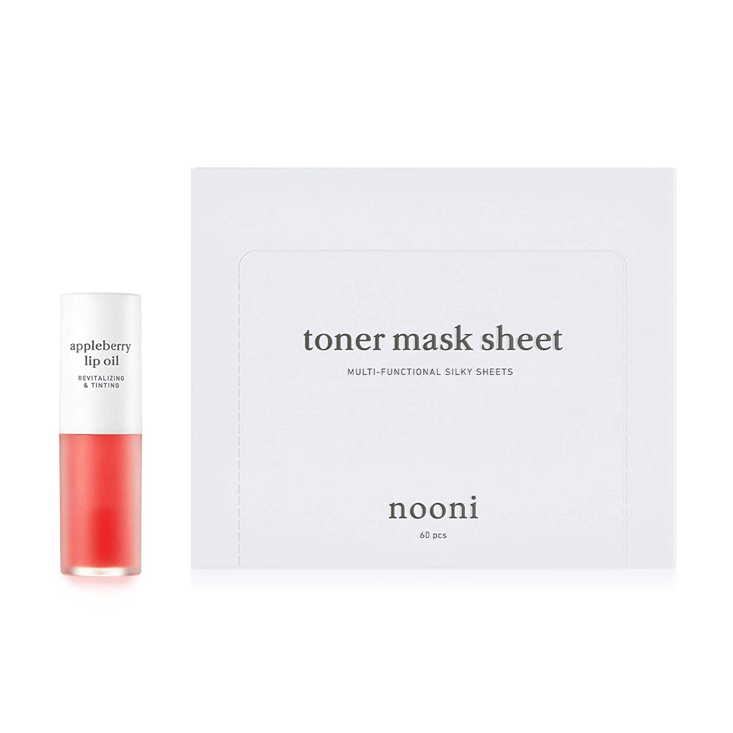 NOONI Appleberry Lip Oil + Toner Mask Sheets Bundle