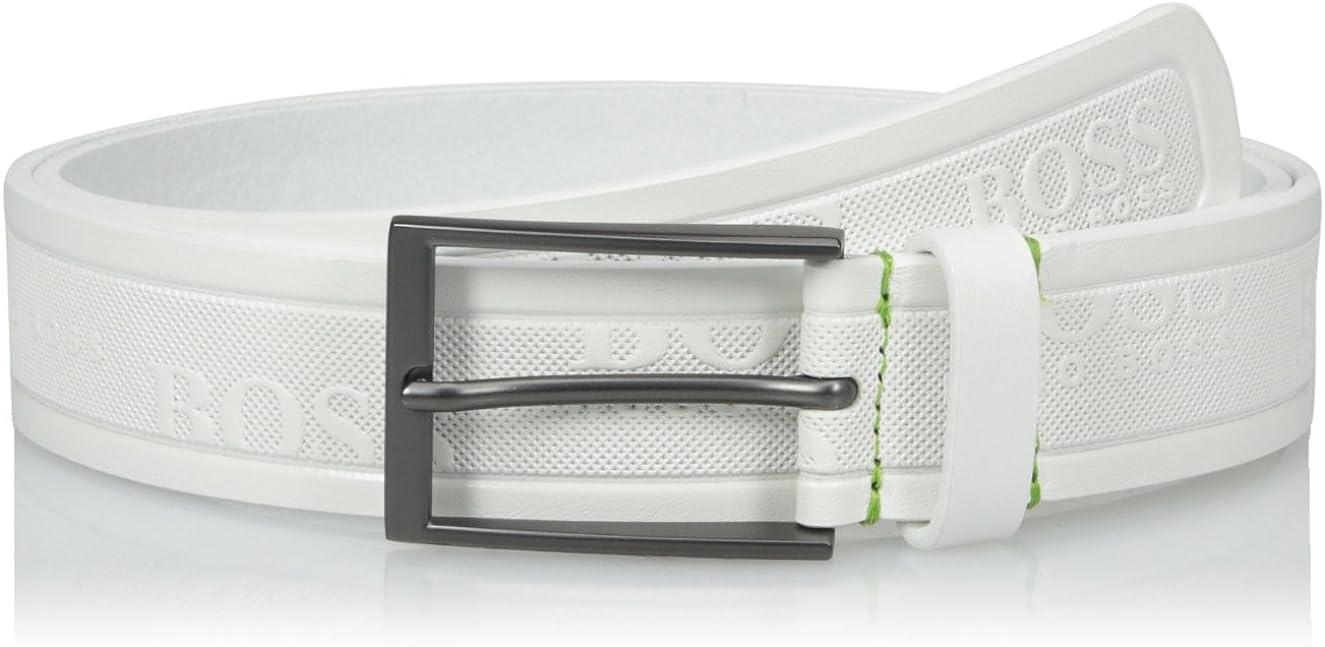 BOSS Green Mens Tino Logo Embossed Leather Belt