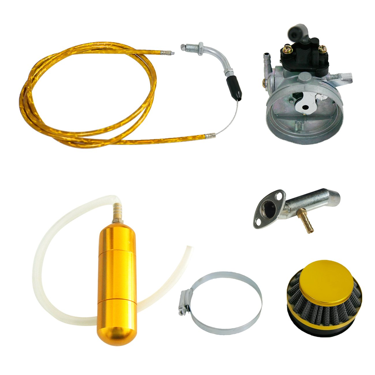 NORTHTIGER Yellow Carburetor&Power Boost Bottle&Air Filter Fit 49/60/66/80cc Motorized Bike