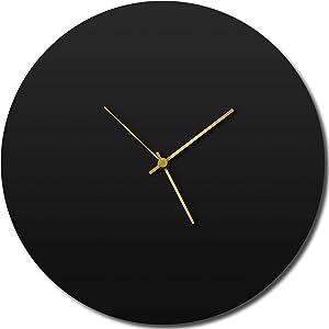 Modern Wall Clock 'Blackout Gold Circle Clock' Contemporary Black Home/Kitchen Decor - Minimalist, Silent Sweep Hands