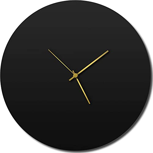 Modern Wall Clock 'Blackout Gold Circle Clock' Contemporary Black Home/Kitchen Decor