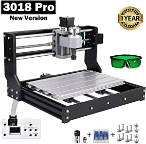 Upgraded CNC 3018 Pro GRBL Control Engraving Machine, 3 Axis PCB Milling Carving Machine, CNC Router Kit with Offline Controller and ER11 and 5mm Extension Rod (3018PRO)