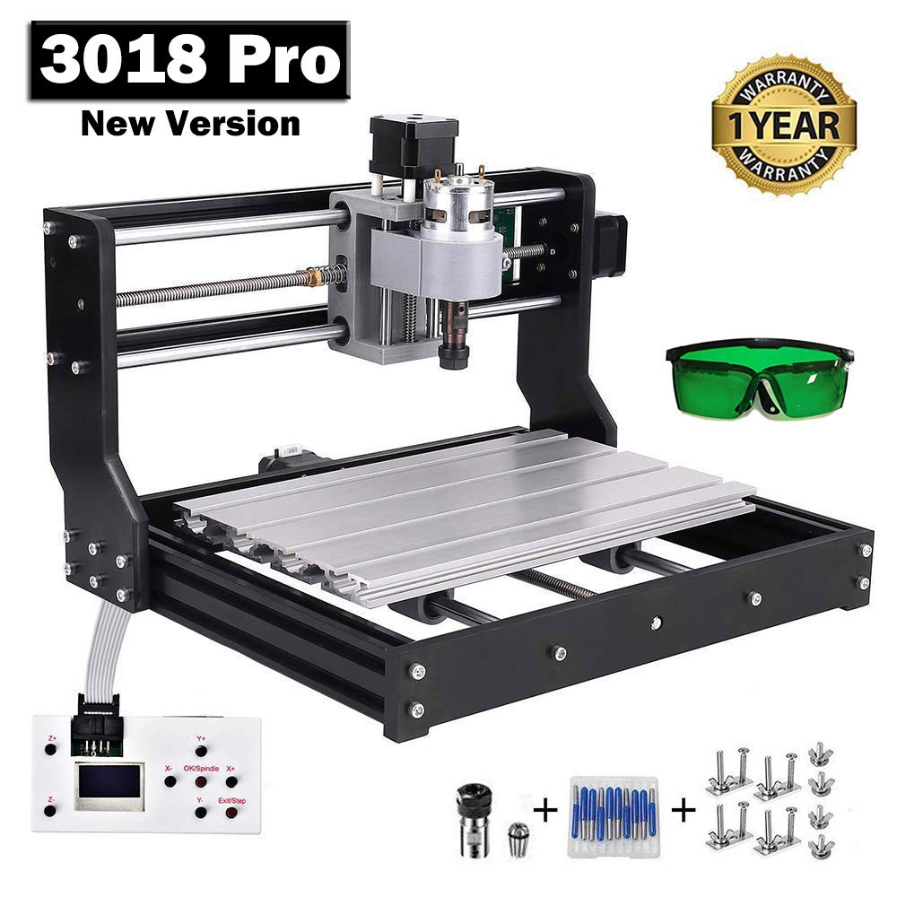 Upgraded CNC 3018 Pro GRBL Control Engraving Machine, 3 Axis PCB Milling Carving Machine, CNC Router Kit with Offline Controller and ER11 and 5mm Extension Rod (3018PRO) by Tsemy