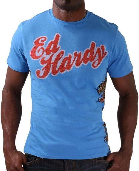 Ed Hardy Christian Audigier Playera Para Hombre Cuello Redondo Color Gris Azul Large Amazon Com Mx Ropa Zapatos Y Accesorios
