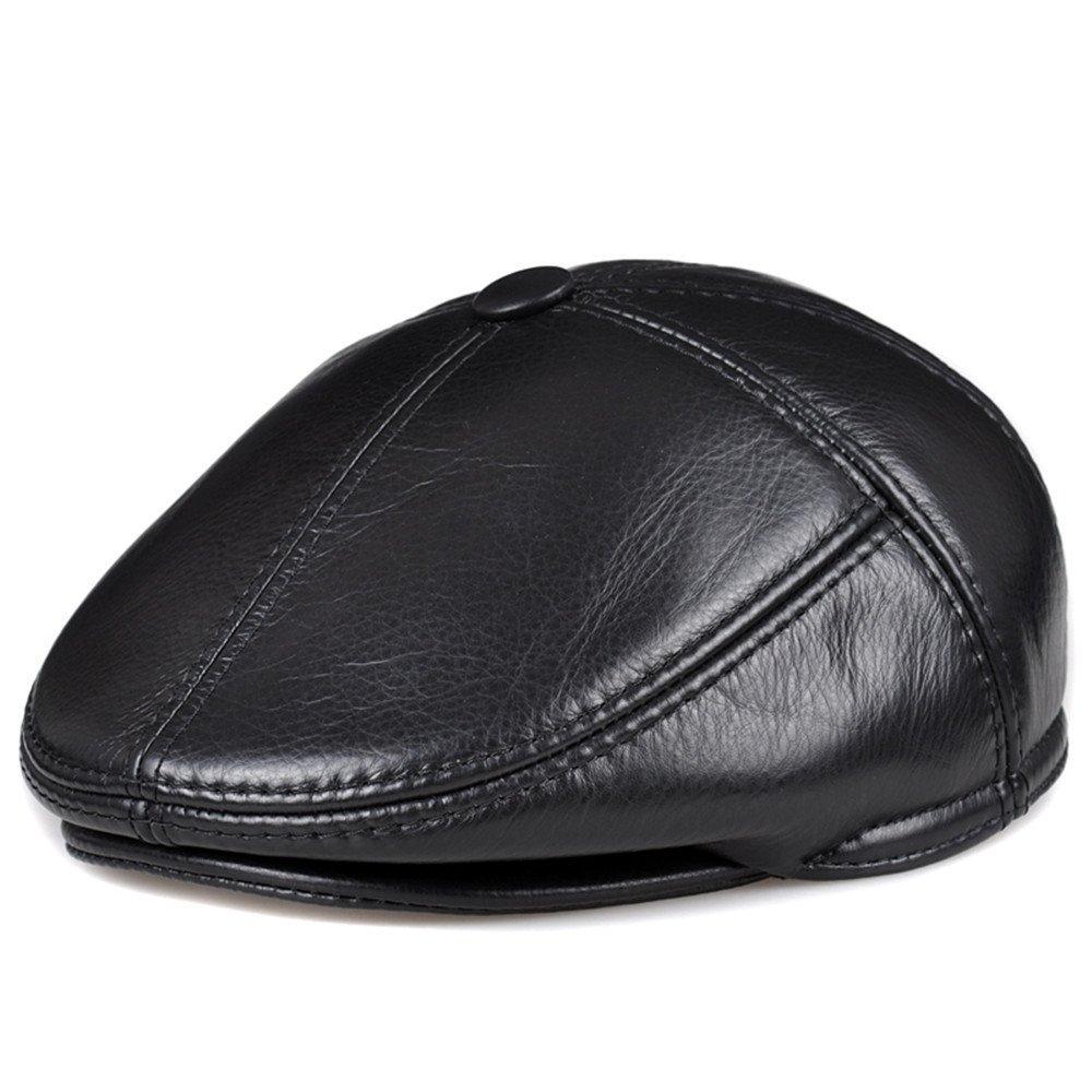 Señoras Mujeres sombreros de cuero de los hombres de mediana edad sombreros boinas gorras Ocio Invierno Unisex hacia,L (56-57cm),clásico negro