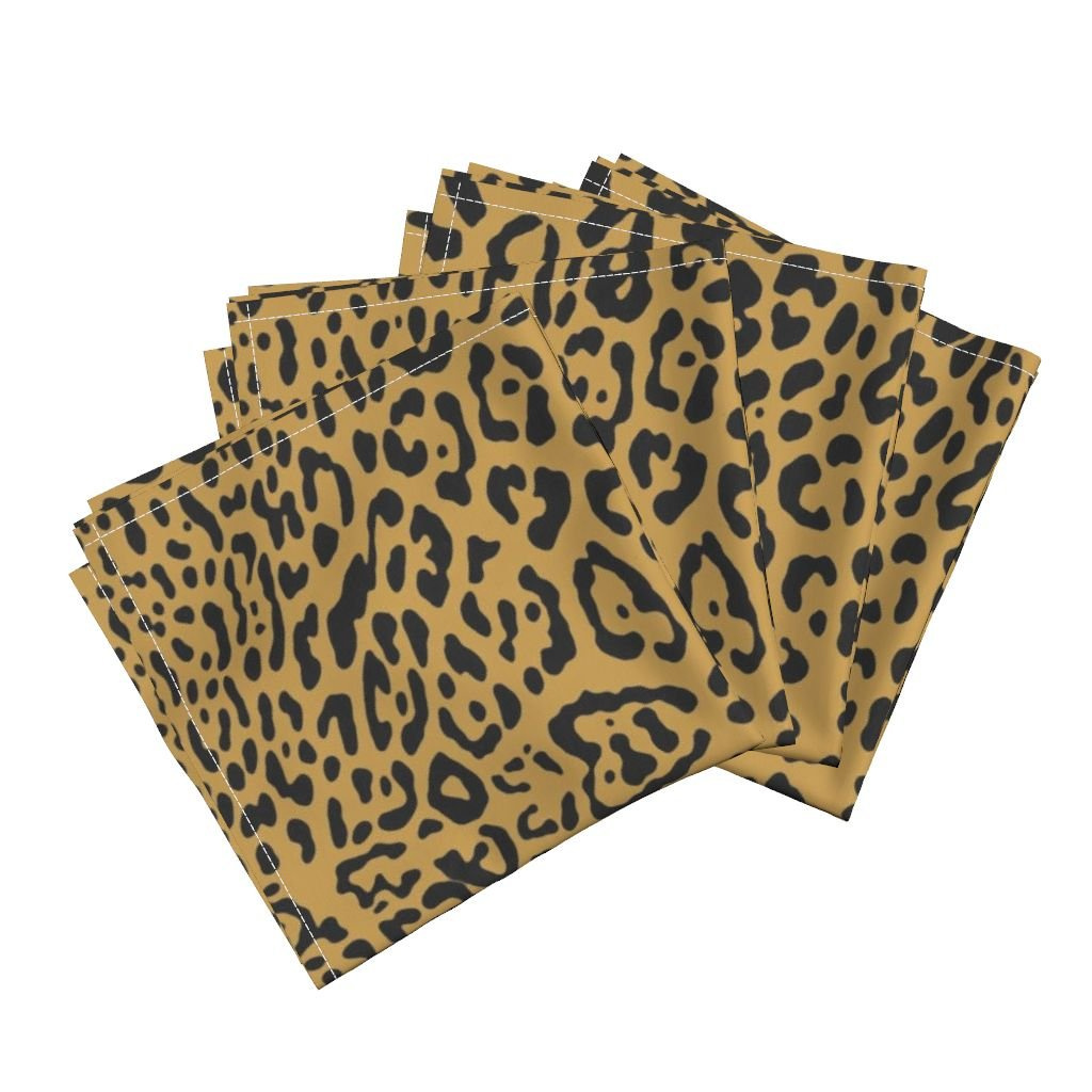 Roostery Leopard Cheetah Animal Spots Gilt Gold Orange Organic Sateen Dinner Napkins Ooh La La! Leopard ~ Black On by Peacoquettedesigns Set of 4 Dinner Napkins