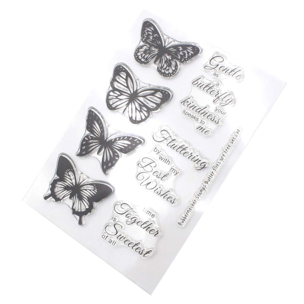 decorazioni album di ritagli timbro in silicone trasparente con parole di auguri per fai da te foto Green /& Rare biglietti