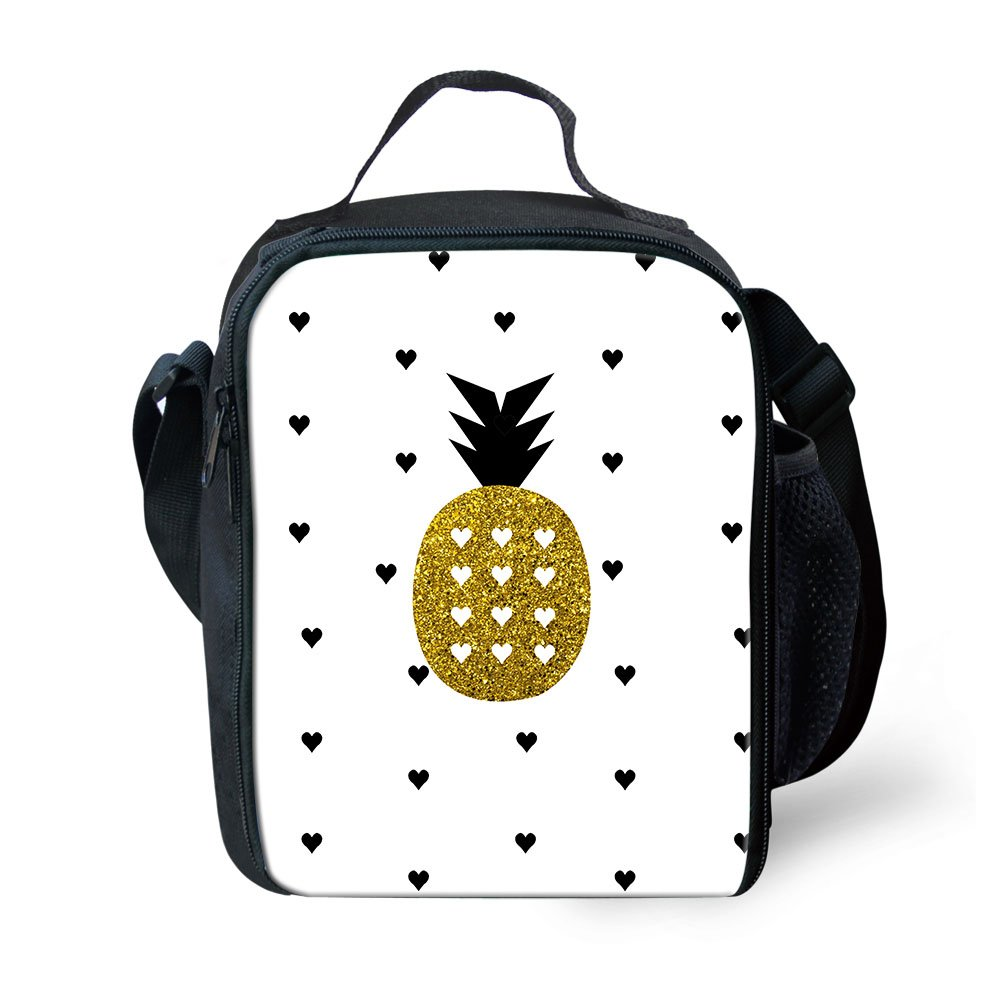 Small Cooler Bag, Insulated Lunch Box Kids Lunch Bag for Boys Girls, Fancy Pineapple 3D Print Thermal Bento Bag Cooler Bag for Office/School/Travel White