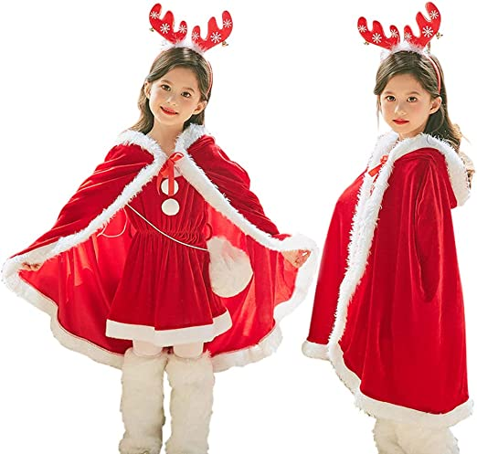 Red Santa Claus Cloak Hooded Christmas Dress Cosplay Fancy Costume Velvet Cape